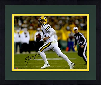 Framed Aaron Rodgers Green Bay Packers Autographed 16 quot  x 20 quot   Color Rush Photograph - 102072ca0