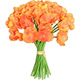 """Mandy's 30pcs Orange Poppy 12.5"""" Artificial Flowers for Wedding Home & Kitchen PU (vase not Include)"""