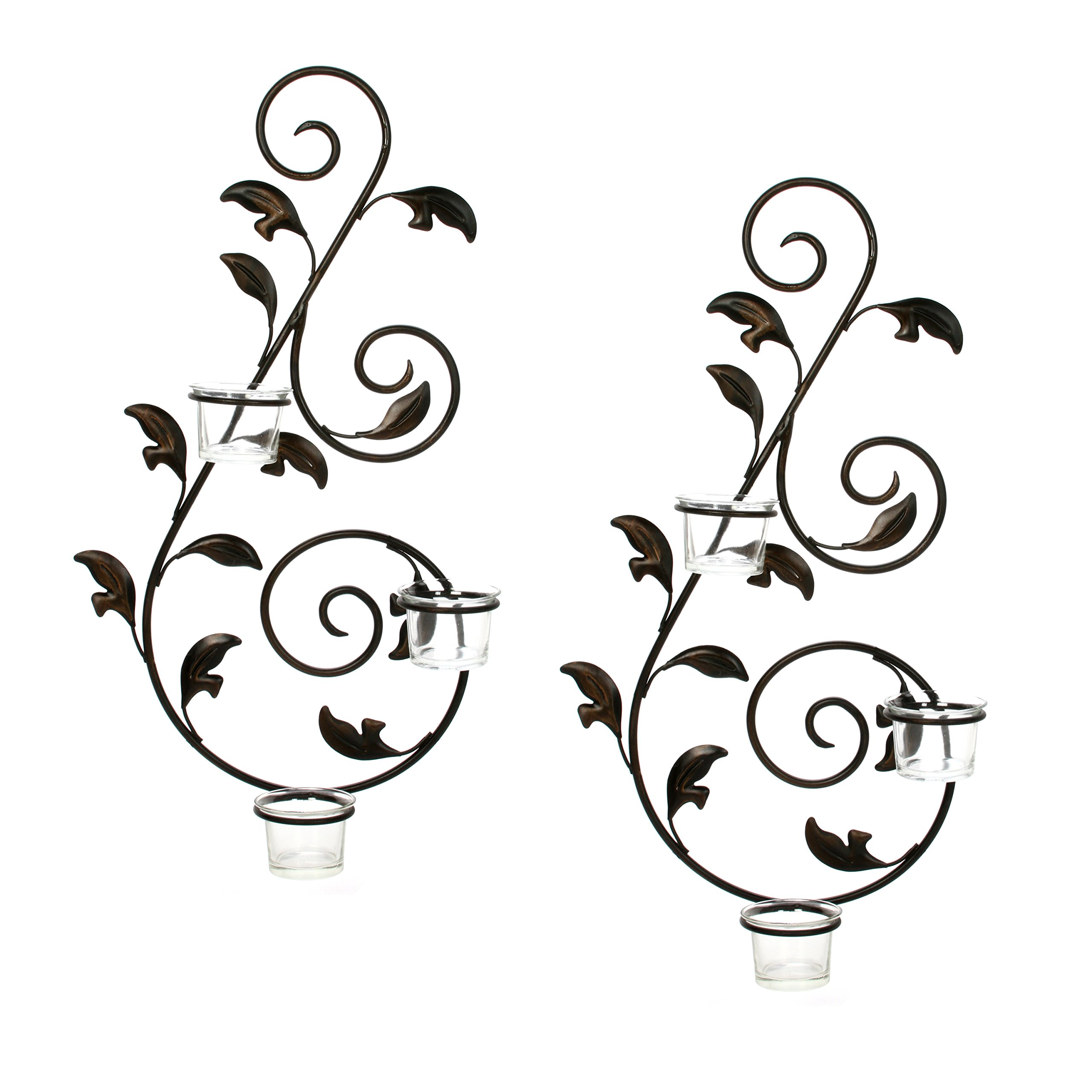 Hosley Set of 2 Iron Leaf Wall Sconce w/Tea Lights 18'' High. Large Scale Wall Decor. Includes Free Tea Lights, Glass Holder. Ideal Gift Home, Spa, Party, Wedding, LED Tea Light Candle Garden O3