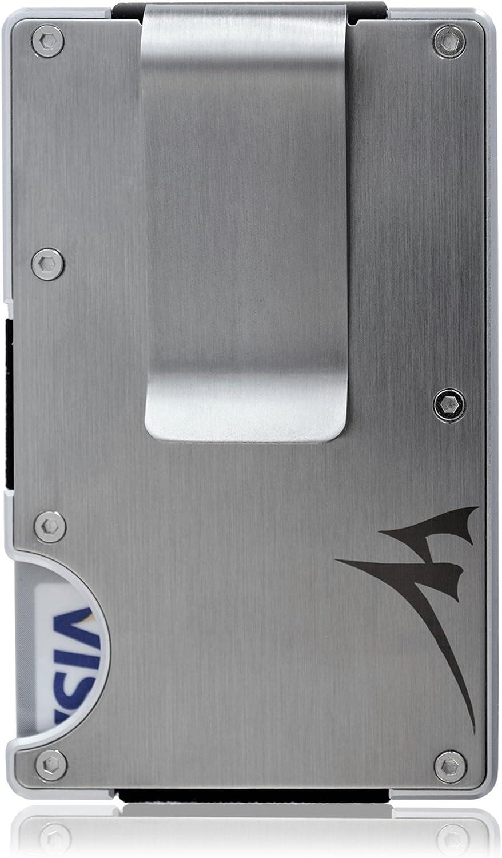 Cartera Tarjetero De Acero Inoxidable con Bloqueo RFID, Pinza De Billetes Minimalista, Cartera De Aluminio para Bolsillo Delantero