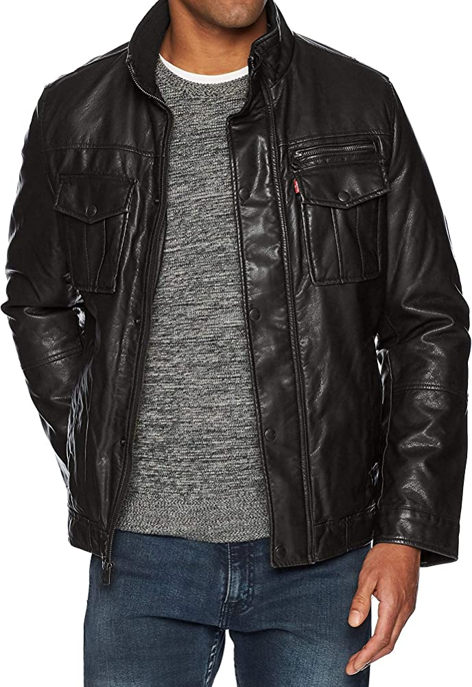 863a96d55 Men's Faux-Leather Trucker Jacket with Sherpa Lining