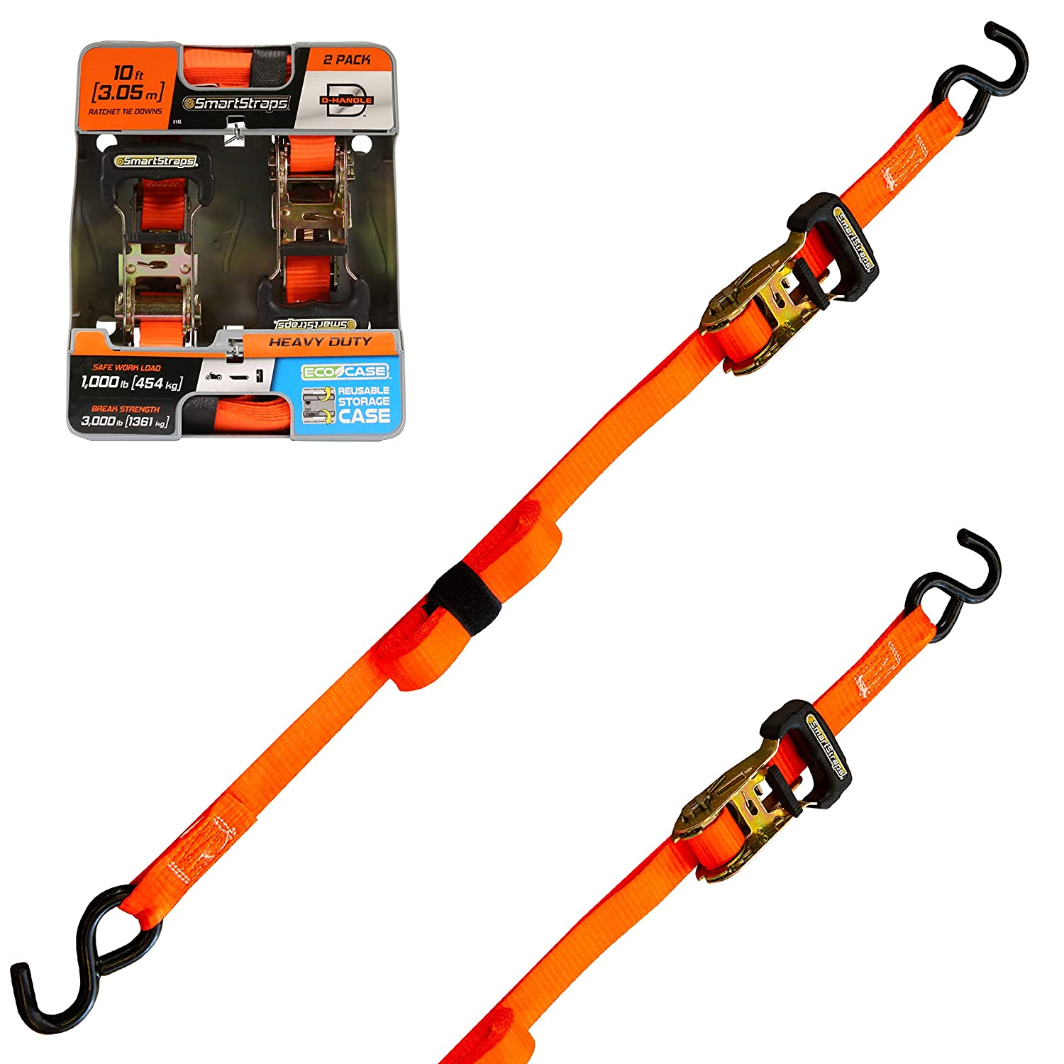 SmartStraps Ratchet Straps - 10ft OR Padded Ratchet HDuty 2pk 3,000lb