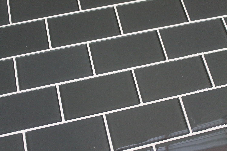 3 x 6 sample piece ash dark grey 3x6 glass subway tiles 3 x 6 sample piece ash dark grey 3x6 glass subway tiles amazon dailygadgetfo Choice Image