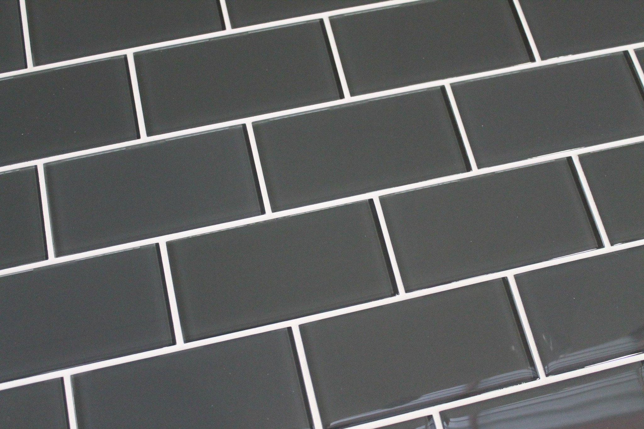 10 Square Feet - Ash Dark Grey 3x6 Glass Subway Tiles