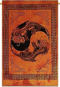 Sophia-Art Tapestry Boho Boho Psychedelic Decor Indian Handmade Hanging Indian Tapestries Dragon Hippie Yin-Yang/Moon-Wolf Wall Wall Poster (Yin-Yang Orange)