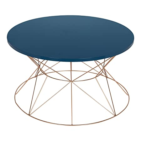 Kate and Laurel Mendel Round Metal Coffee Table, Blue Top with Rose Gold Base
