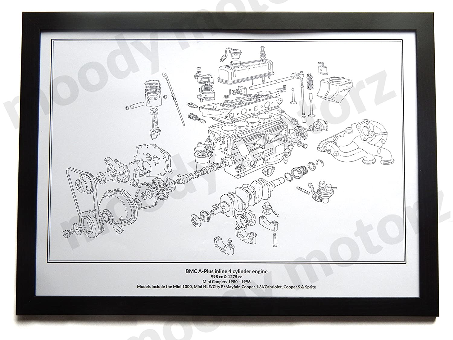 Mini Cooper Classic Engine Diagram Schematic A2 A3 Size Hand Drawn Inline 4 Cylinder Framed Picture