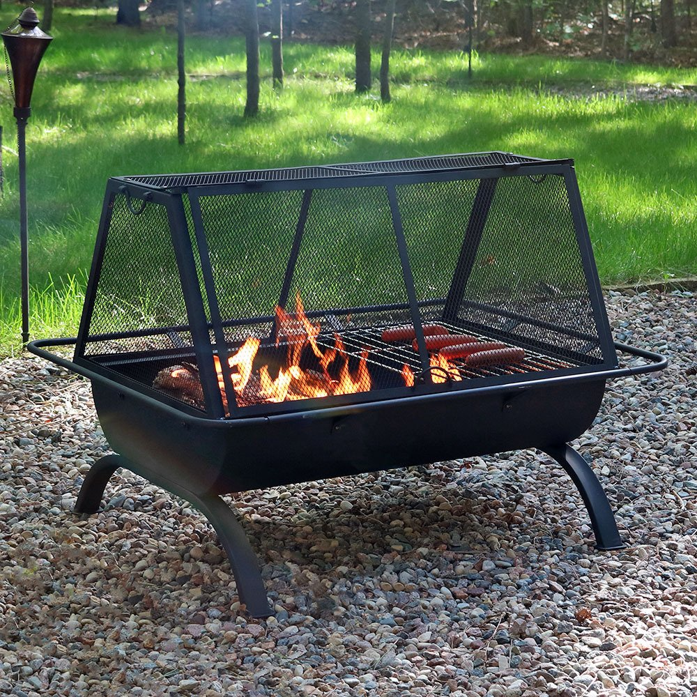 Amazon.com : Sunnydaze Northland Fire Pit Grill With Spark Screen, Wood  Burning Cooking Grate, 36 Inch : Garden U0026 Outdoor