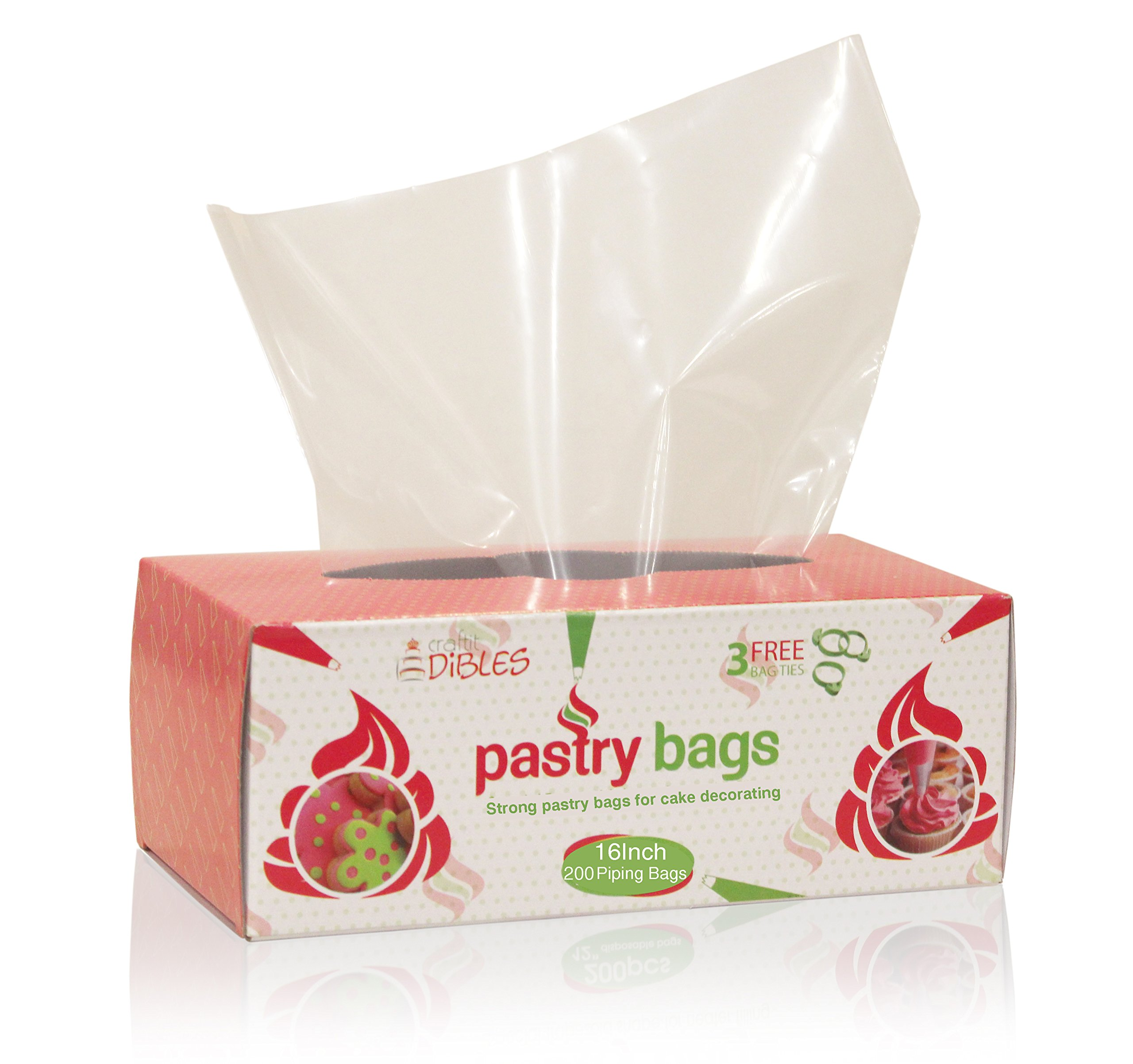 Disposable Pastry Bags, 200 Pack - 16 Inch Extra Thick Icing Bags in Dispenser box, Microwave safe - 3 Free piping bag ties included!