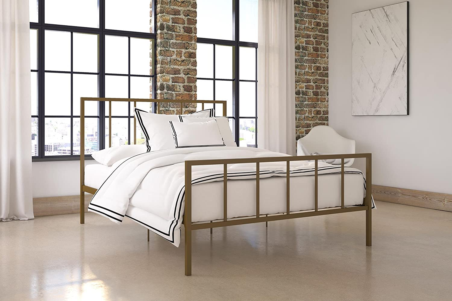 Dhp Stella Metal Bed With Sturdy Metal Frame And Slats, Gold, Queen by Dhp