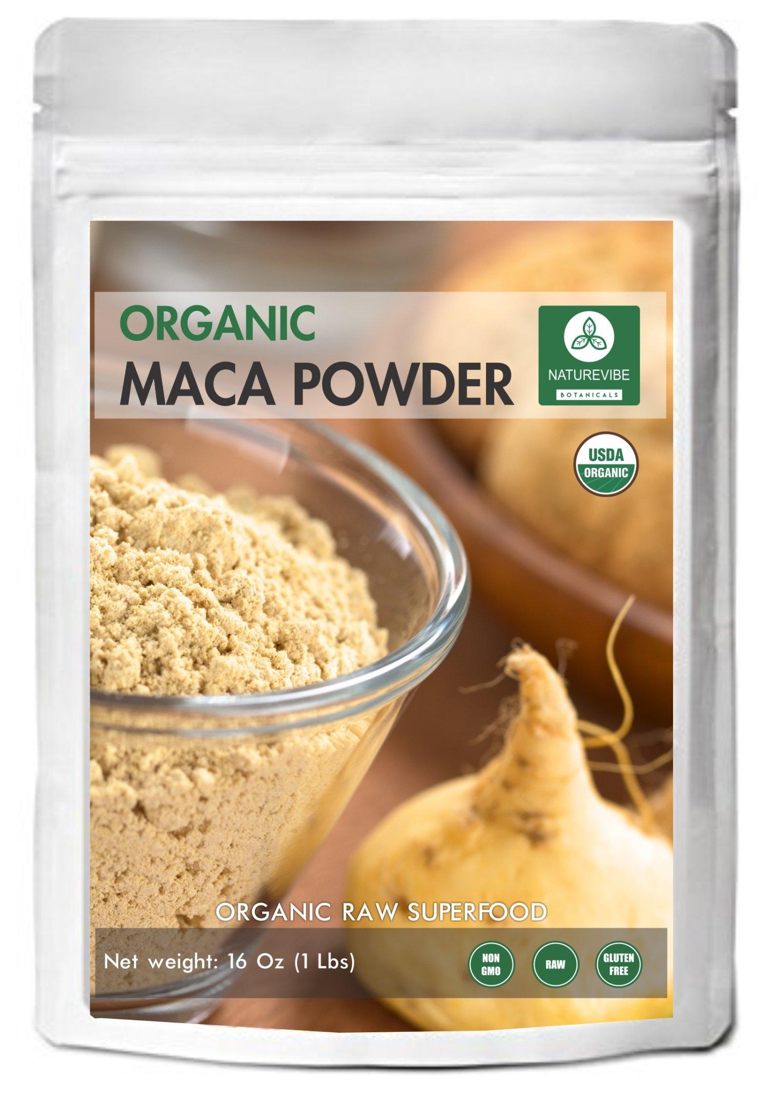 Naturevibe Botanicals USDA Organic Maca Powder (1lb) - Gluten-Free & Non-GMO (16 ounces)