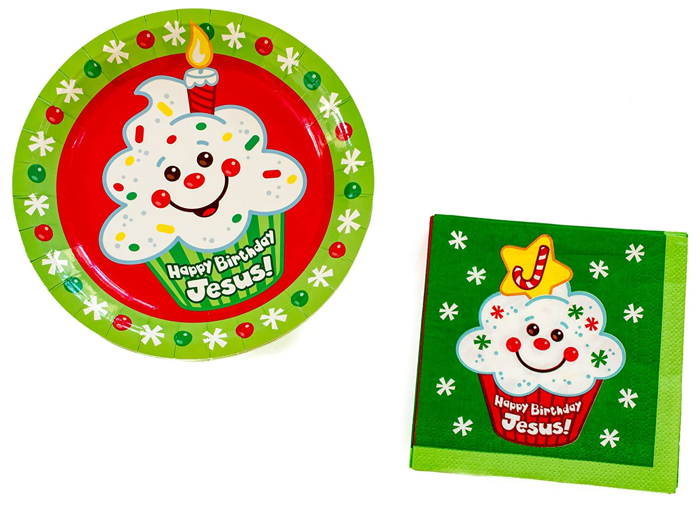 Amazon.com: Happy Birthday Jesus Religious Christmas Paper Plates ...