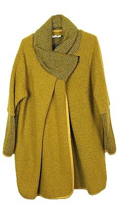 3882f3020c8c77 Damen italienischem Lagenlook Quirky Wolle Reißverschluss Lange Ärmel Tulip  Cocoon Coat Jacke Poncho Cape Oversize One