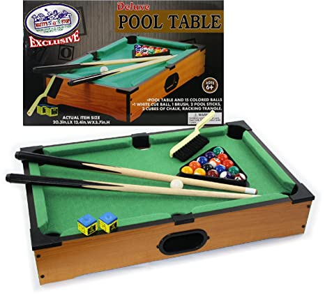 Mattyu0027s Toy Stop Deluxe Wooden Mini Table Top Pool (Billiards) Table With  15 Colored