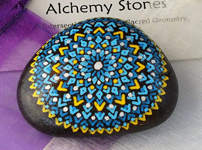 91fadc96e5f7a Amazon.com: Hand Painted Alchemy Stone with Blue and Yellow Mandala ...