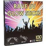 "100 x 8"" NEON GLOW STICKS WITH 100 CONNECTORS - RAVE NIGHT GLOW PARTY UV BRACELETS"
