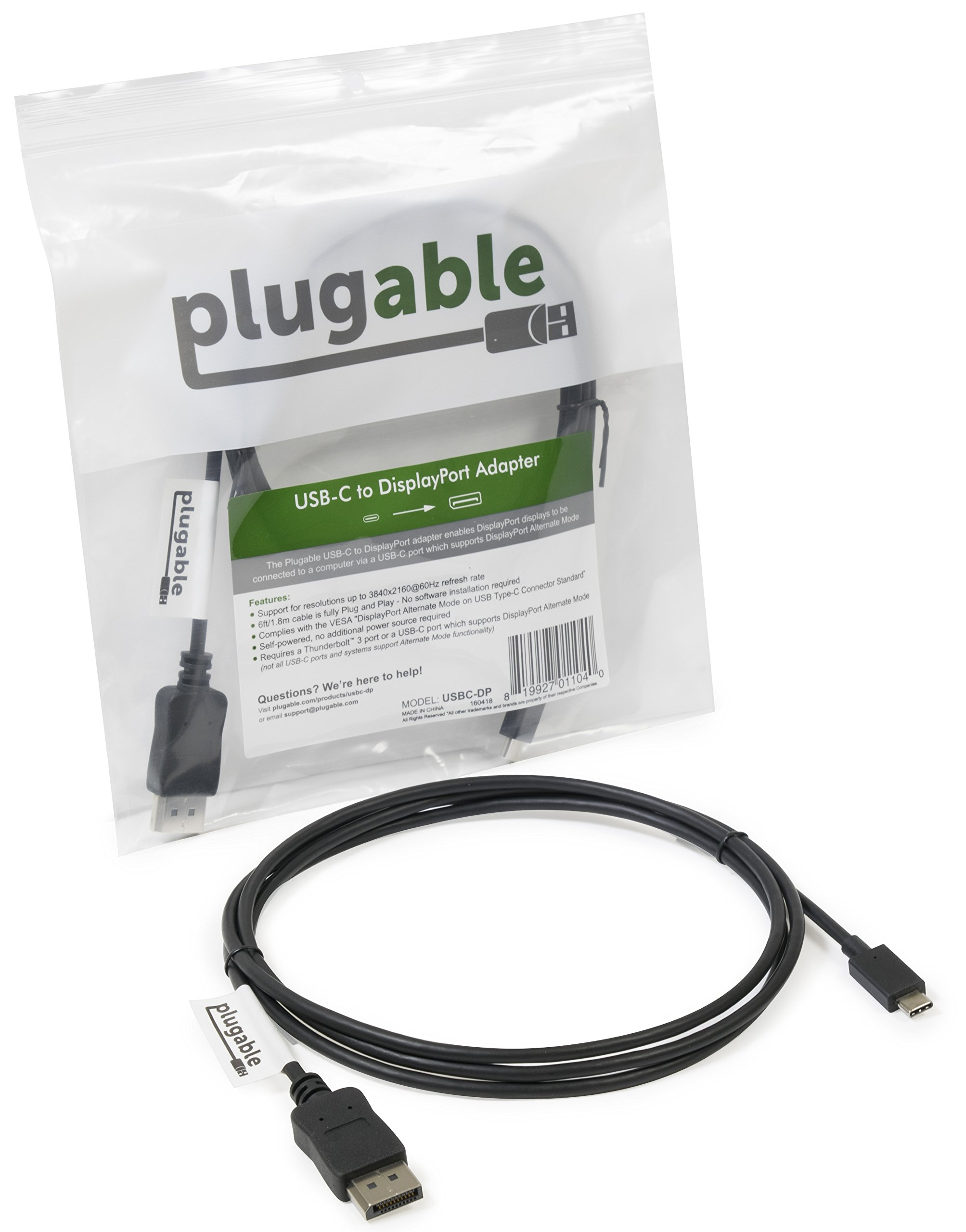 Plugable USB C to DisplayPort Adapter Cable - 6ft (1.8m) - Supports 4K at 60Hz by Plugable (Image #4)