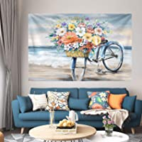 Bicicleta Flores Cesta Tapiz Colgante de pared Ropa de cama Tapiz Pintura al óleo Naturaleza Paisaje Playa Manta para…