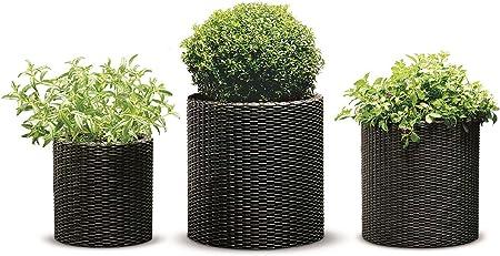 Square Plastic Large Tall Rattan Flower Plant Pot Indoor Garden Patio Planters