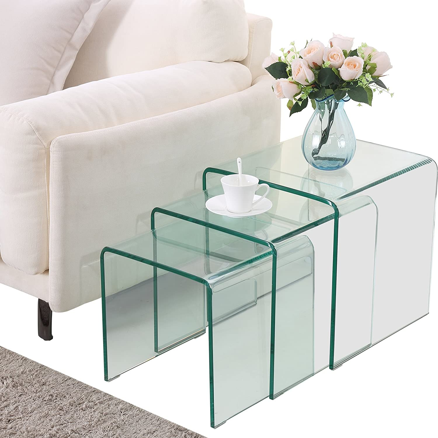 SUNCOO Glass Coffee Table Set of 3 End Side Table Living Room Table Sets  Clear