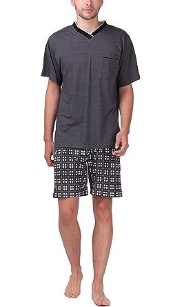 Moonline - Herren Shorty Schlafanzug kurz Pyjama mit karierter Hose aus  100% Baumwolle  Amazon.de  Bekleidung 5cd7d07703