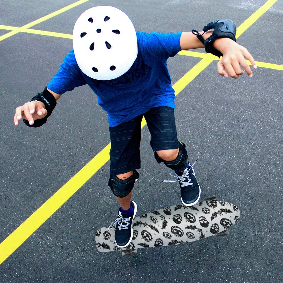 Xapwell 22 Inch Mini Cruiser Skateboard Completed for Beginners Professional with Colorful LED Lights PU Wheels and Matching T-Tools