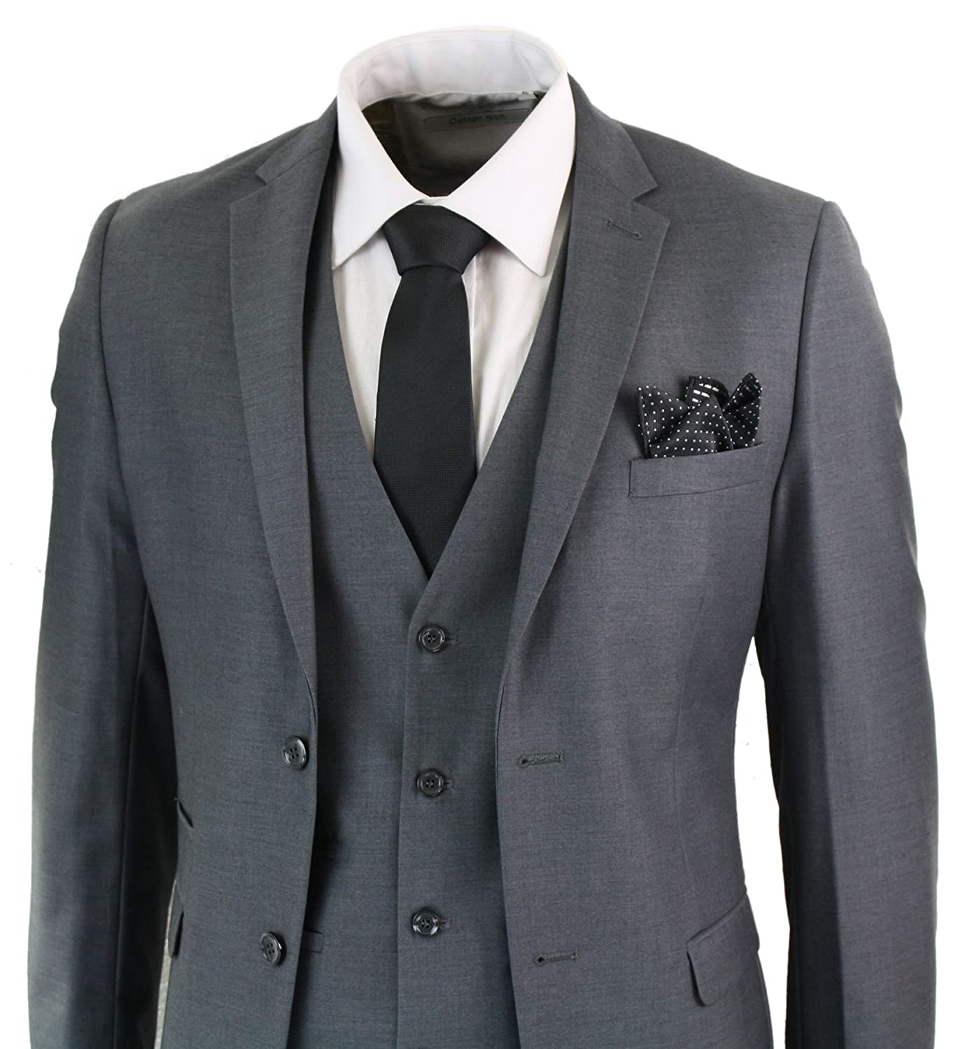 Mens 3 Piece Grey Tailored Fit Complete Suit Classic Waistcoat Blazer Trousers