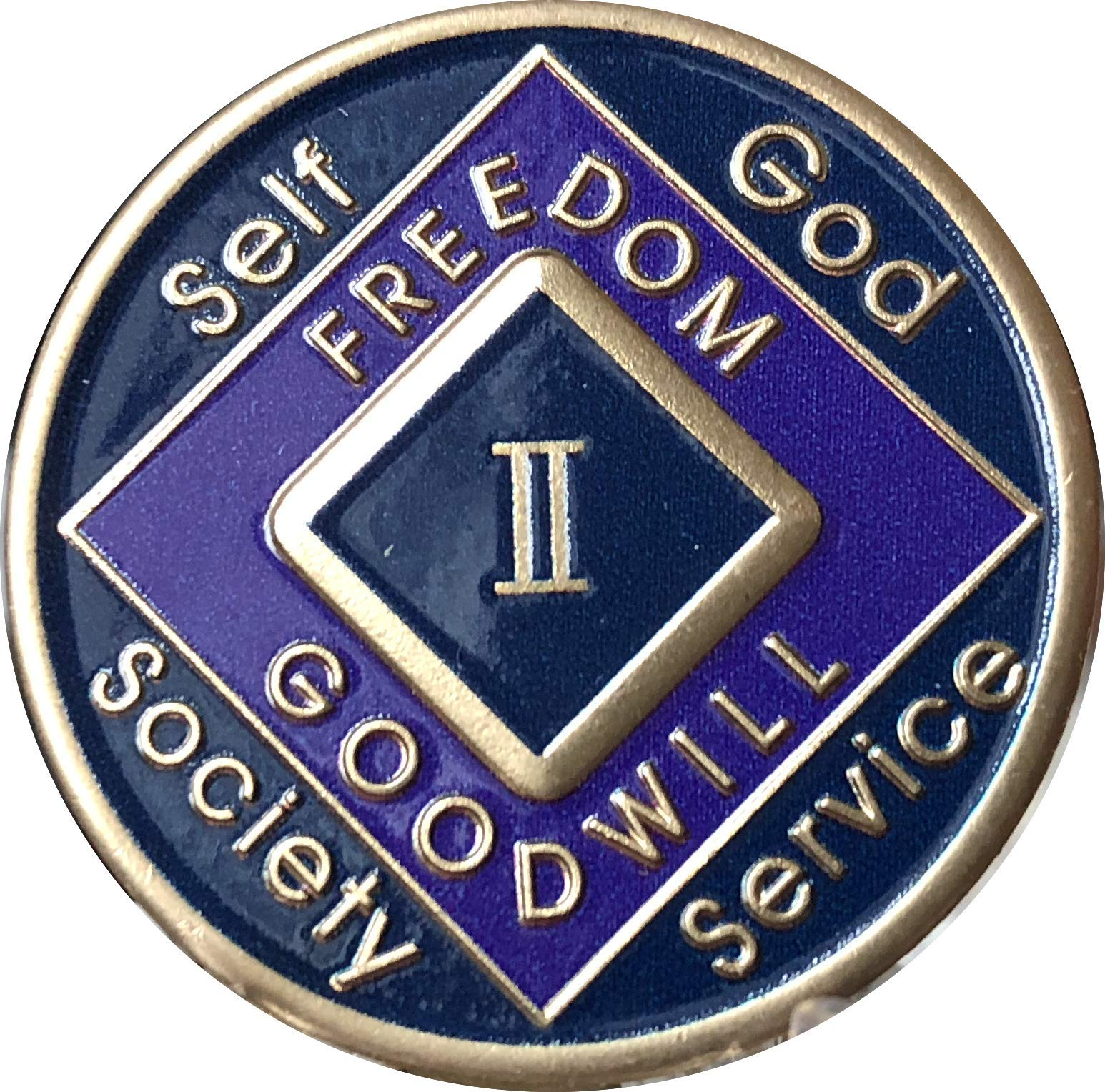 2 Year Blue and Purple NA Medallion Official Narcotics Anonymous Chip II
