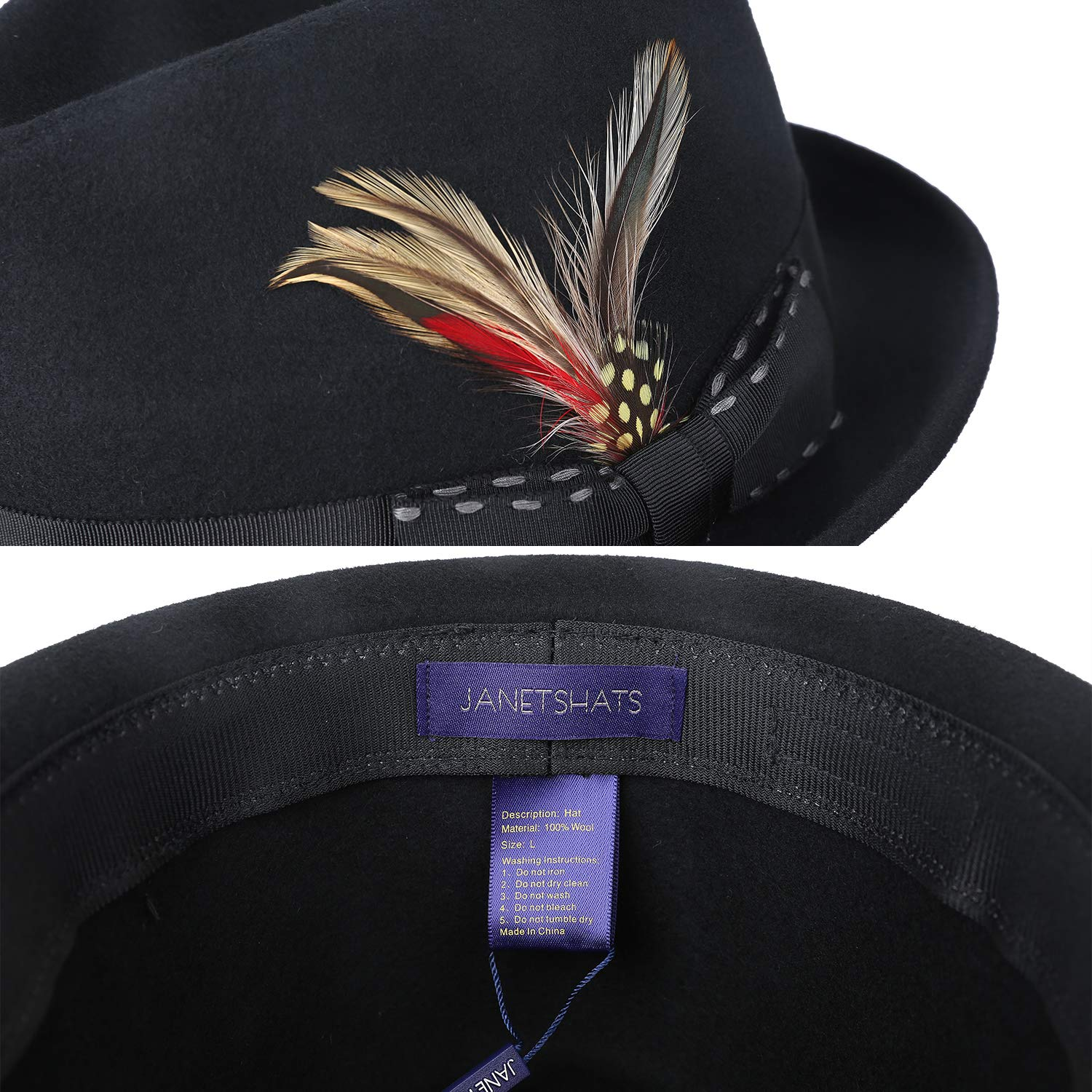 b898cfb19340b4 Janetshats Fedora Hat Men Wool Felt Hat Stain-Resistant Crushable Trilby  Handmade Stitching Bowknot Feather: Amazon.ca: Clothing & Accessories