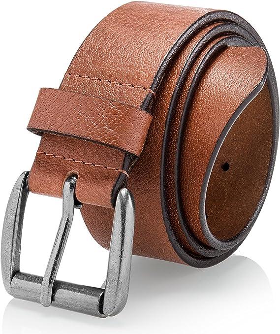 Super Soft Full Grain Leather Mens Casual Belt Black Brown Tan