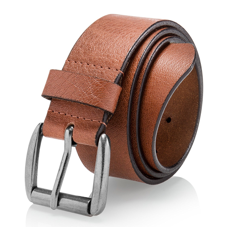 Men's Casual Jean Belt Soft Top Grain Leather Roller Buckle 38MM Black Brown Tan 50165