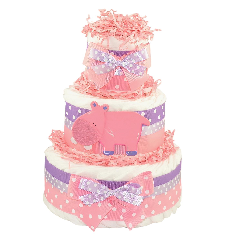Amazon.com: Rosa Pastel de pañales, diseño de hipopótamo: Baby