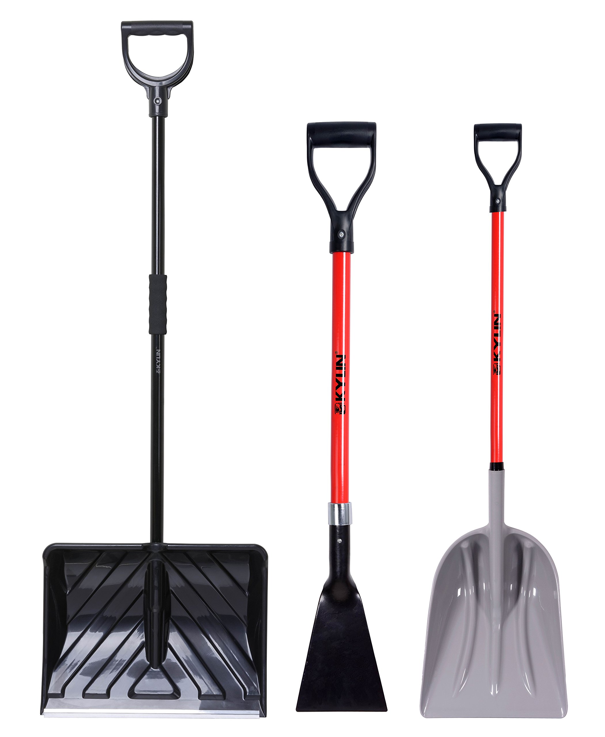 KYLIN Multifunctional Garden Tools Set- Include 18'' PP Grain/Leaves Pusher, 7'' Forged Sidewalk and Ice Scraper, 12 Snow/Garden Utility Shovel,All with D-Grip Handle