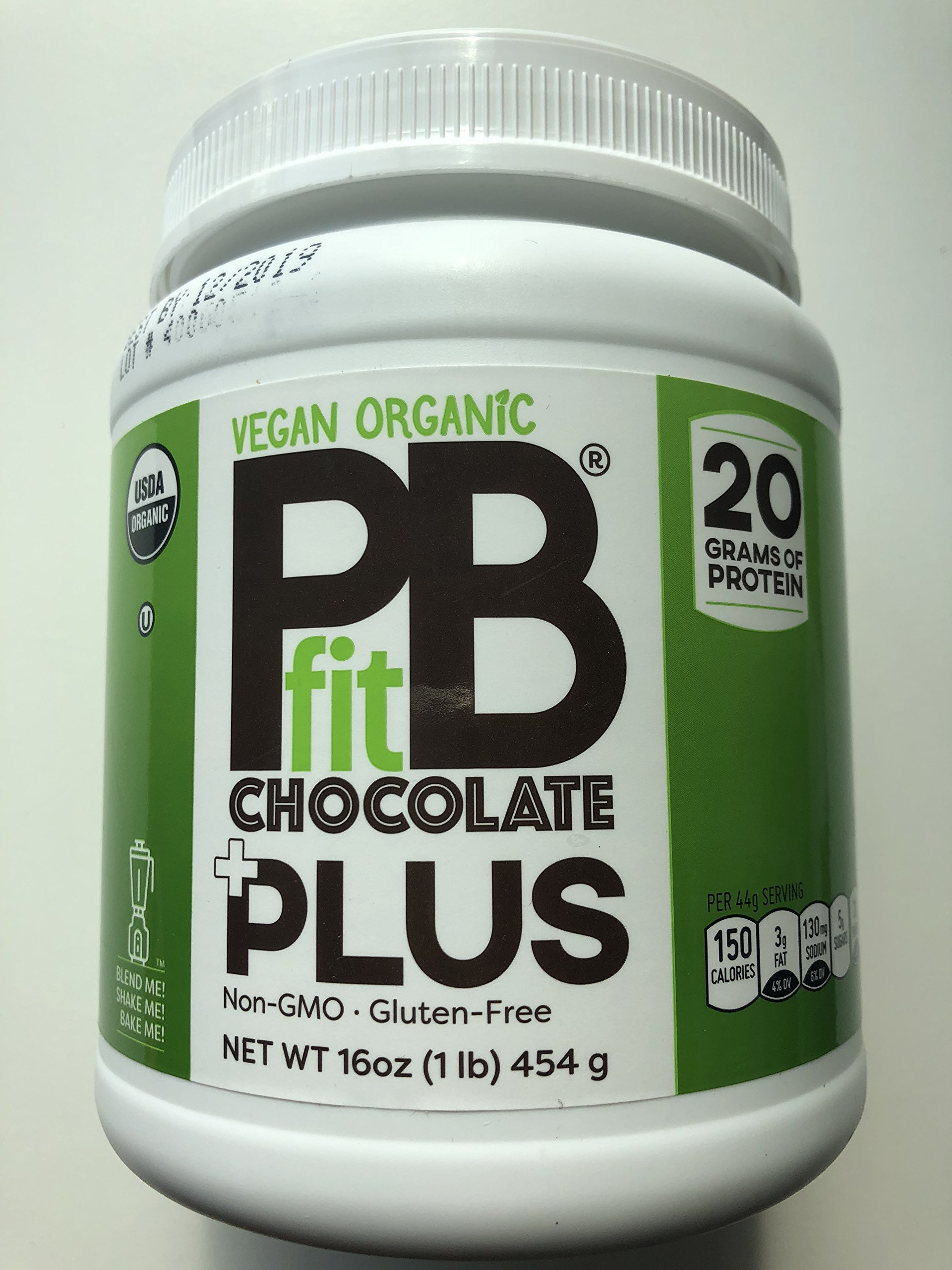 PBfit Plus Chocolate, superfood blend, Vegan Organic Non GMO, Gluten Free, 20 Grams of Clean Whey Protein, Produced by BetterBodyFoods 454 Gram