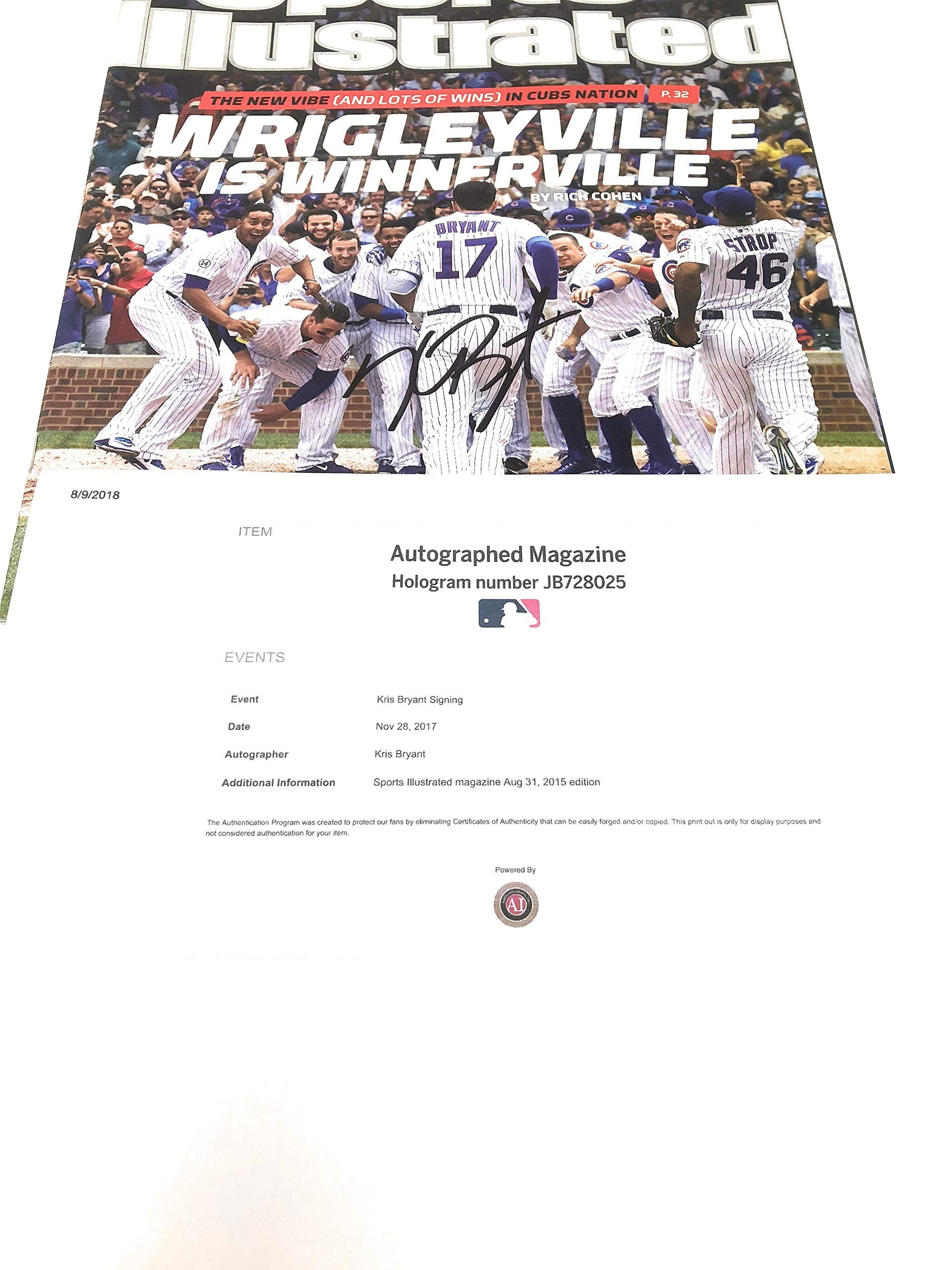 Kris Bryant Chicago Cubs Signed Autograph Sports Illusttrated Magazine MLB Hologram Authentic Certified