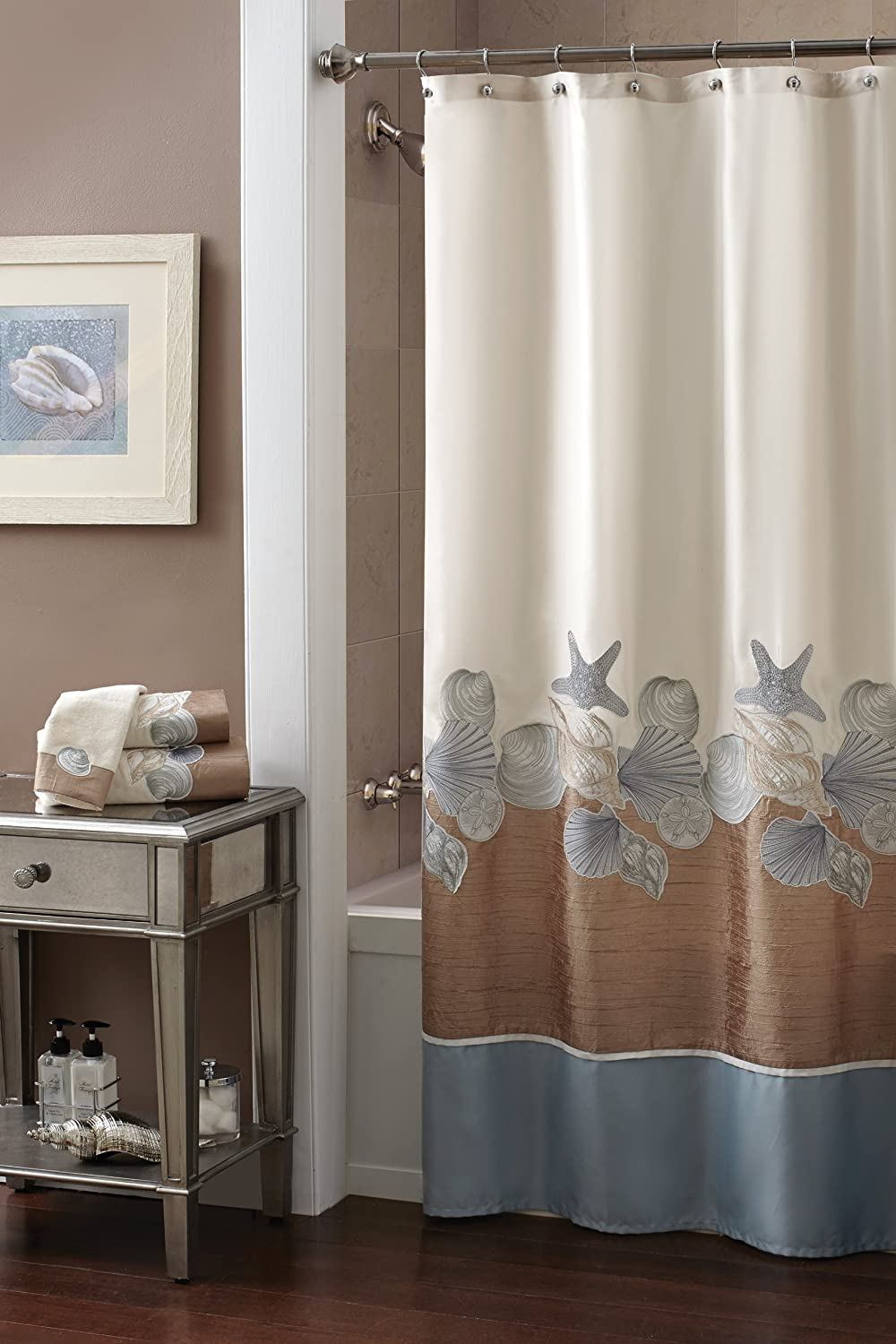 Amazon com  Croscill Shells Ashore Shower Curtain 70 by 72 Inch Natural Home Kitchen
