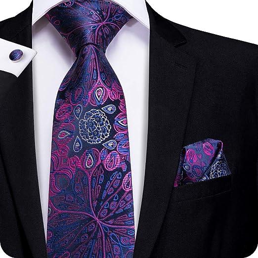 fcad7b8547a65 Amazon.com: Hi-Tie Mens Purple Flower Silk Tie Hanky Cufflinks set  (flower): Clothing