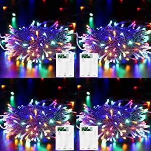 4 Pack LED String Lights Battery Operated Fairy String Lights Twinkle Decorative Lights 50 LED 16.5ft Battery Powered Starry Lights for Bedroom, Wedding, Chirstmas, Festival Party, Garden, Patio Decor