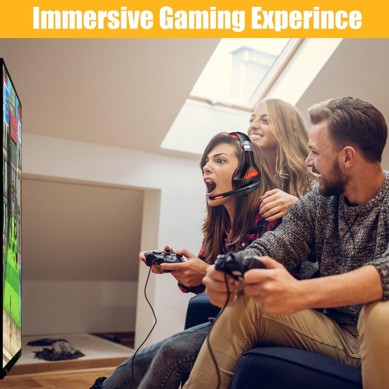 Casque Gaming PS4 PC Xbox One Switch pour Xbox One Smartphone PC Laptop Samoleus Casque Gamer avec Micro LED Lampe 3.5mm Audio Contr/ôle du Volume PS4 Tablette Playstation 4