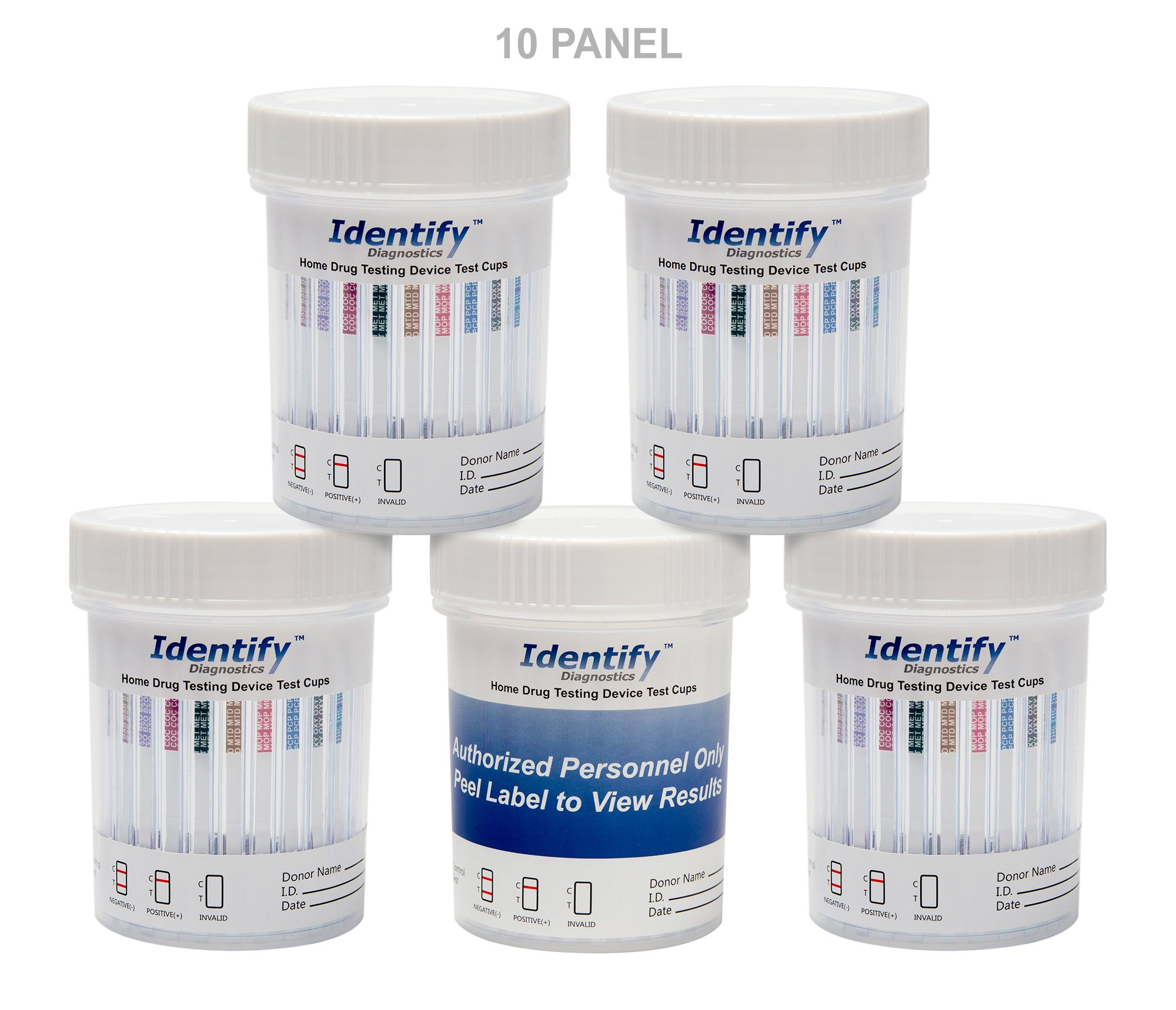 50 Pack Identify Diagnostics 10 Panel Drug Test Cup Testing Instantly for 10 Different Drugs: (THC), (COC), (OXY), (MOP), (AMP), (BAR), (BZO), (MET), (MTD), (PCP) #ID-CP10-AZ (50)