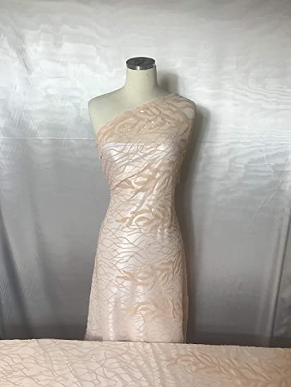 3475bc924ca Amazon.com  Peach 4 Way Stretch Sequins On A Mesh Lace by The Yard ...