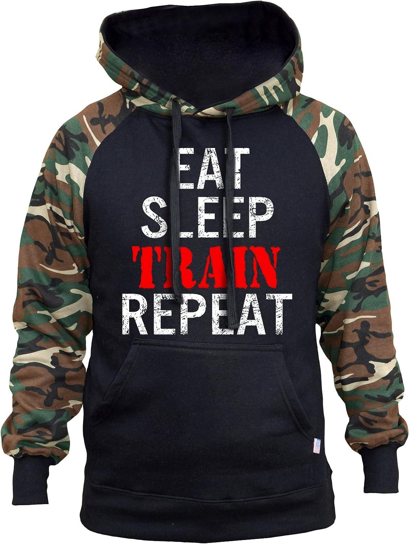 Interstate Apparel Mens Eat Sleep Train repeat TV11 Black//Camo Raglan Baseball Hoodie Black