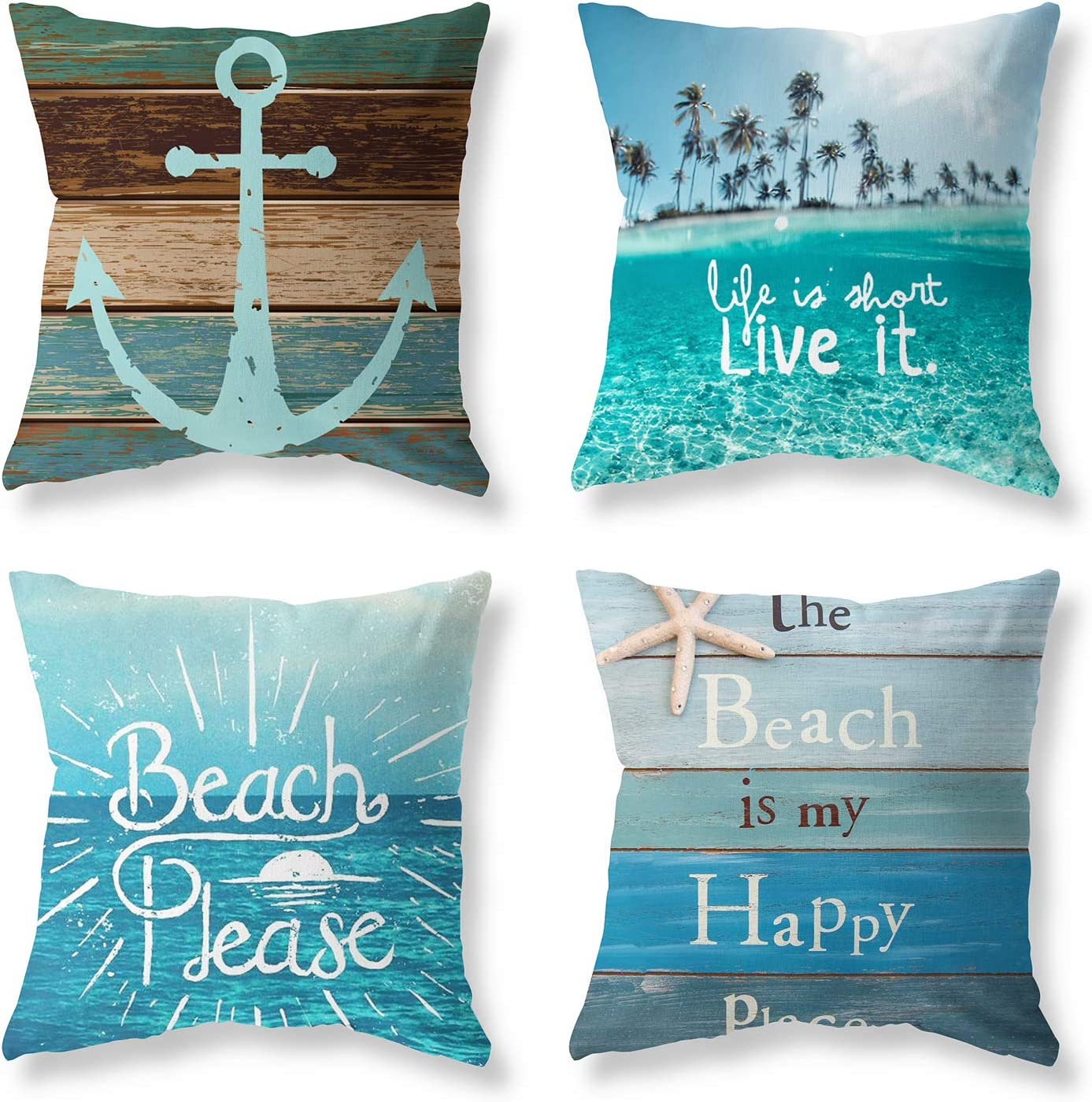 Pack of 4 Decorative Throw Pillow Covers Sets 18x18 Inch Blue Ocean Beach Theme Pillowcases Square Outdoor Cushion Cover Wood Grain Sea Anchor Printing Pillows Covers for Home Decor Sofa Car Bedroom