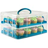 Andrew James 2 Tier Adjustable Cupcake Holder And Cake Carrier in Blue, Holds 24 Cupcakes