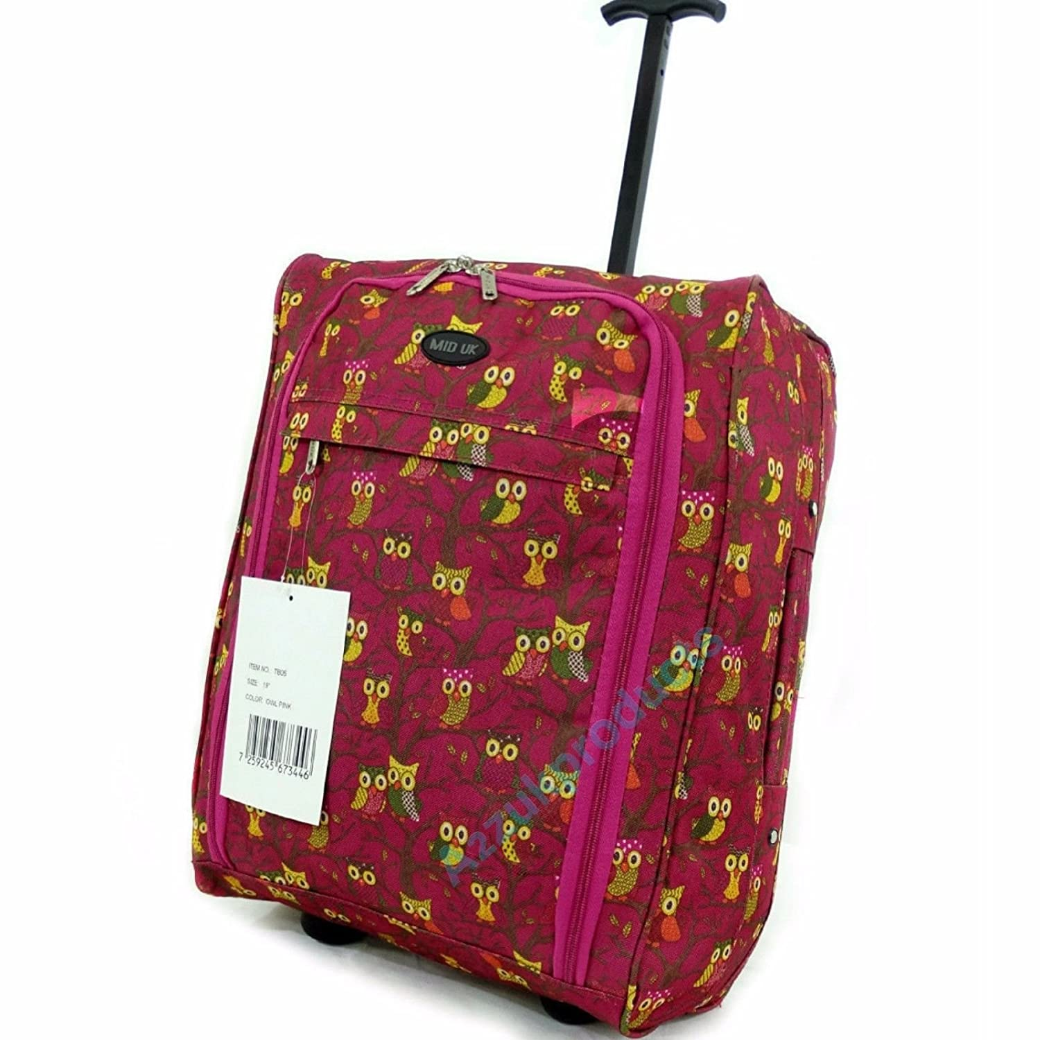 Lightweight Hand Luggage Wheeled Travel Holdall suitcase Trolley Cabin Approved (Pink with Owls) TB05