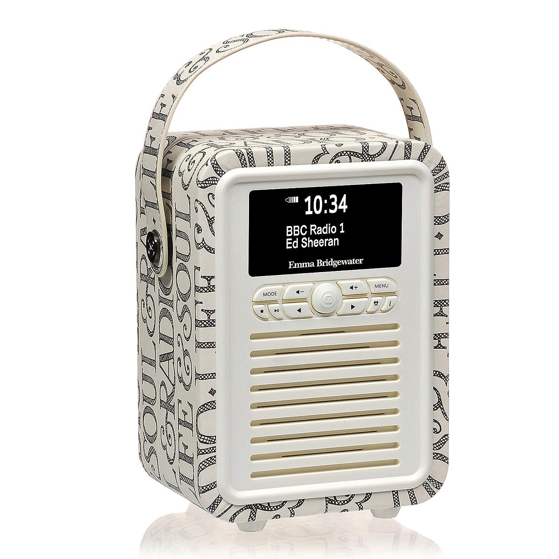TALLA Black Toast. VQ Retro Mini - Radio Digital Dab & Dab+, diseño Emma Bridgewater Negro Brindis
