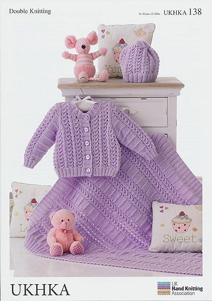 Amazon Double Knitting Pattern Matching Baby Cardigan Hat