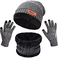 Petrunup Vinter varm stickad slokande mössa hatt skidåkning halsvärmare halsduk pekskärm handskar 3/2 st set med dubbla…