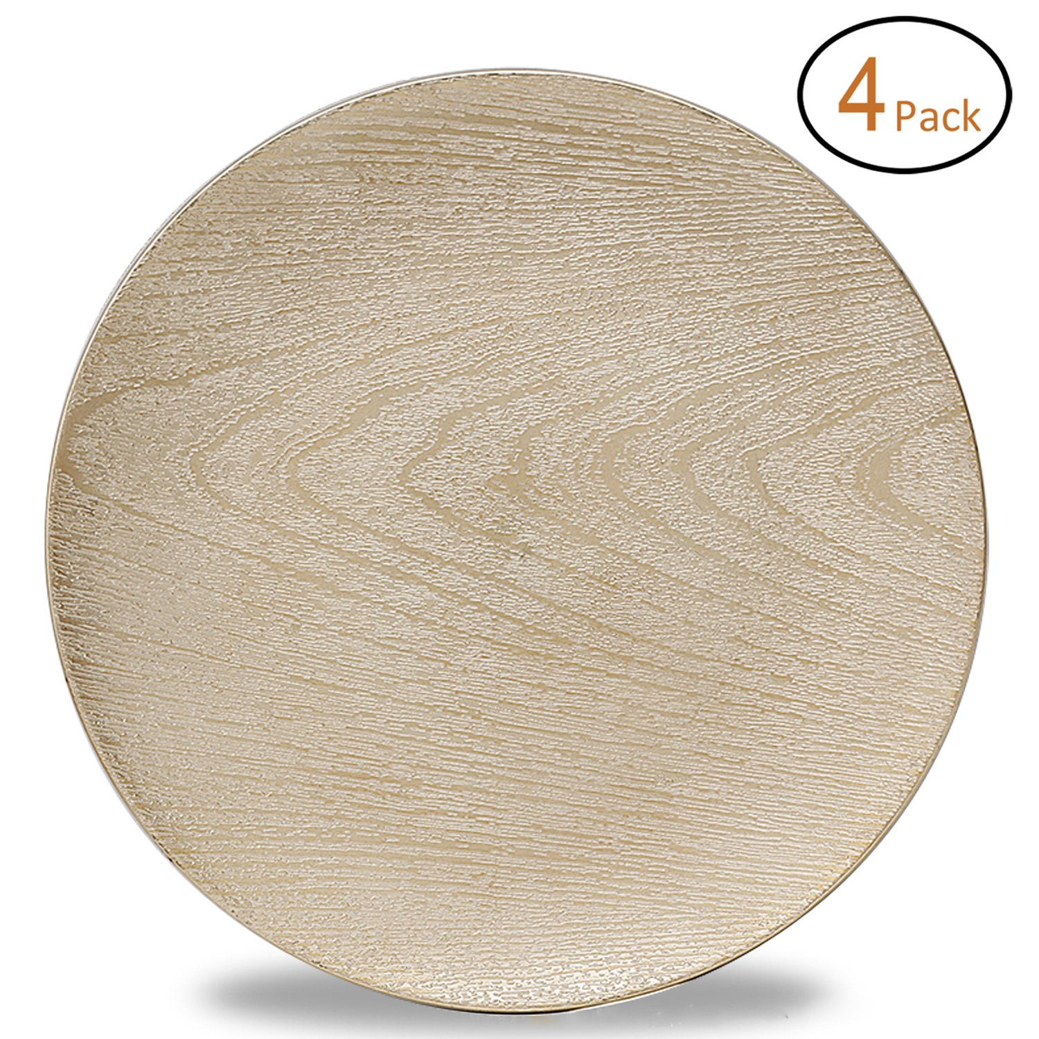FANTASTIC :)  Round 13 Inch Plastic Charger Plates with Eletroplating Finish (4, Wood Gold)
