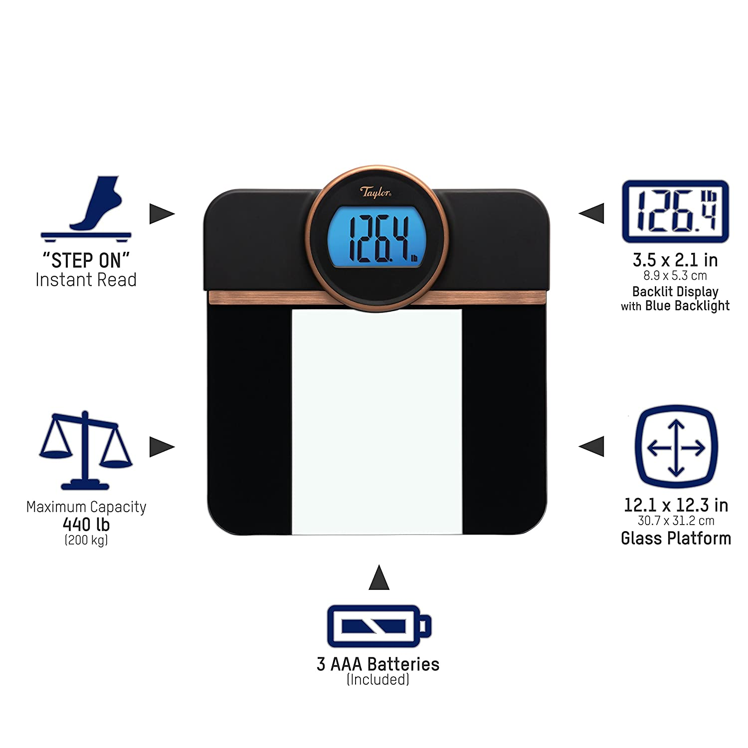 Amazon.com: Taylor Precision Products Taylor Glass Blue Backlight Display (Black) Retro Digital Bath Scale: TAYLOR(R) PRECISION PRODUCTS: Home & Kitchen